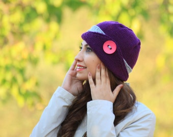 Womens knit hat, Purple hat, Lucy Hat with a button, Winter beanie for women, Hand knitted hat for women, Winter hat, Purple knit hat
