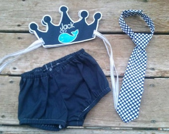 1st birthday cake smash outfit - Embroidered crown, neck-tie and diaper cover