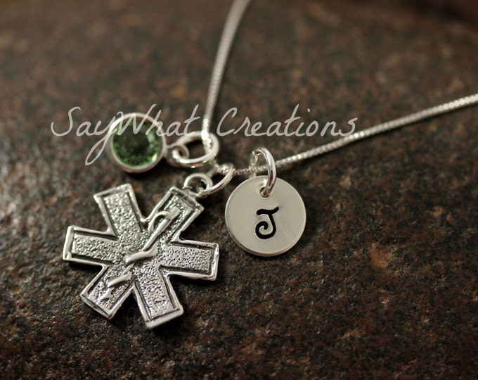 Hand Stamped Mini Initial Sterling Silver Medical Star of Life Paramedic Charm Necklace