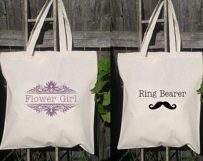 Wedding Welcome Bags-Personalized Wedding Tote - Ring Bearer and Flower Girl Bags