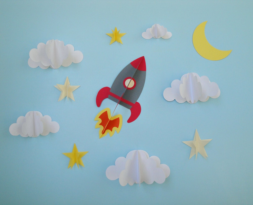rocket ship 3d wall decals wall decor wall art boy u0027s