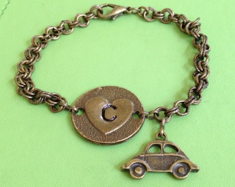 Initial C Brass Heart Bracelet