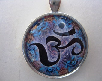 Yoga Necklace:  Om on Mandala Necklace (005)