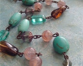 SedoNa BLuSh ....Sparkling SMokey QuarTz glass SeA BLue GReeN MaGneSite Chocolate smokey topaz Sandy BLush Swirl glass Beads
