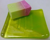 Fused Glass Soap Dish in Lime Green