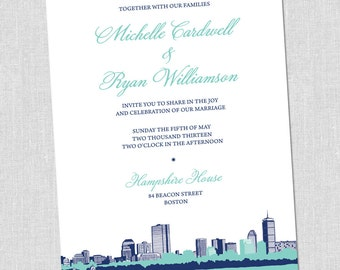 Bold Boston Wedding Invitation Set - SAMPLE SET