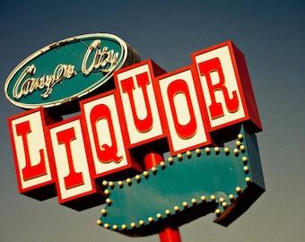 Canyon City Liquor Sign - Route 66 Art - Retro Kitchen Decor - Home Bar Art - Blue Red Home Decor - Neon Sign - Fine Art Photography
