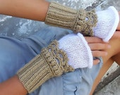 Knit Crochet Cuffs, Fingerless mittens, Arm Wrist Warmers, Golden Beige, Off White. Knit gloves.