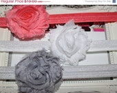 SALE Boutique Baby Girls Set of 3 Shabby Chic Vintage Chiffon Rosette Flower on a Elastic Headband White Coral Grey..Perfect for Newborns