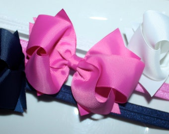 Boutique Baby Girls Set of 3 White Navy Garden Rose Large Hair Bow on Elastic Headband..Perfect for Photo Props Nautical