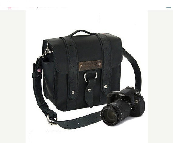 "10"" Black Napa Safari Leather Camera Bag - http://www.copperriverbags.com/personalizations-branded-initals/"