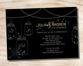 50 PRINTED WITH ENVELOPES- Mason Jar Fireflies Engagement Invitation includes envelopes