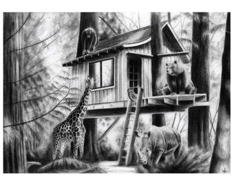 12x16 Illustration Print - 'Home Amongst The Trees'