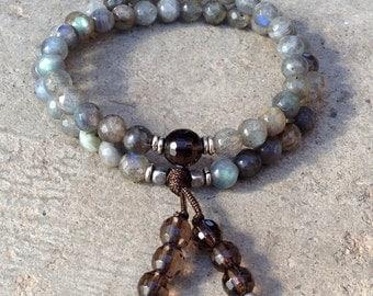 Serendipity and positivity, faceted labradorite and smoky quartz 54 bead wrap mala bracelet