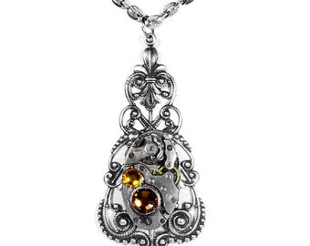 Steampunk Jewelry Vintage Womens Necklace ART DECO Watch Victorian Filigree Topaz Crystals Wedding Holiday - Jewelry by Steampunk Boutique