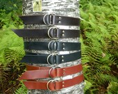 """Handmade Double Ring Leather Belt Mens Womens 1 3/4"""" 1.75"""" inch wide Black Brown or Chestnut"""