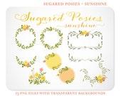 Orange & Yellow Posies Laurel Wreaths and Digital Frames - Hand Drawn  - Instant Download