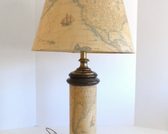 Vintage FREDERICK COOPER Table Lamp Antique  Style World Map 1960s