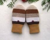 Warm, Wool Mittens for Kids. Grade school size. Brown, beige stripes. Fleece lining.