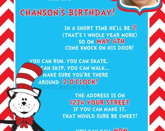 Boy or Girl Dr. Seuss Inspired Photo Birthday Invitation Dr Seuss Invitation Dr Seuss Birthday Invitation Digital File 5x7