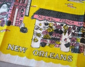 N'orleans. Vtg linen kitchen towel, New Orleans theme, French quarter, yellow and pink. Excellent condition.