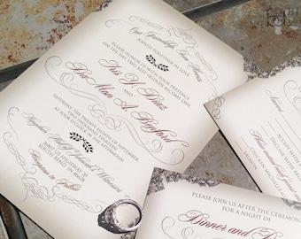 Elegant, Script Wedding Invitation with Victorian Filigree Flourishes. Filigree wedding invitation.