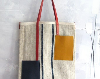 Vintage linen tote bag from an antique European grain sack in ecru and blue, red, yellow detailing. Vintage burlap tote. Vintage linen bag