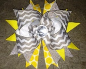 Jewel embellished Chevron Style Silver - White and Yellow Boutique Stacked Monogrammed Hair now