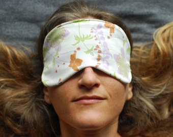 Teacher Gift -  Eye Mask - Sleep Mask - Organic Cotton Floral Print - Eco Friendly  - Handmade