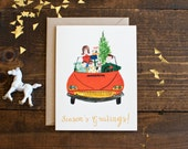 Holiday card set - season's greeting - hand painted illustration - hand lettering - box set of 6 cards