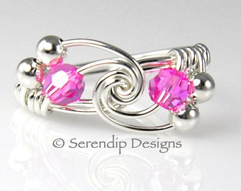 Pink Crystal Ring, Argentium Sterling Silver Wire Wrapped Twist Ring, Swarovski Crystals, Fuchsia
