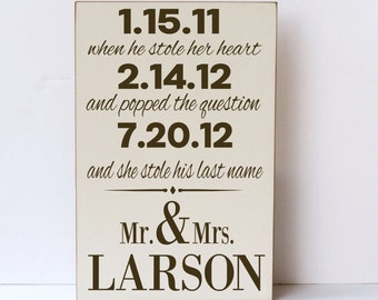 Wedding Gift Wood Sign, Mr and Mrs Wood Sign, She Stole Last Name, Important Dates Wall Art, Wedding Decor, Wedding Wall Art, Shower Gift