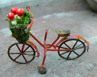 Fairy Garden Accessories Bike  Red Bicycle for Miniature garden or Terrarium Miniature Mushrooms and bike