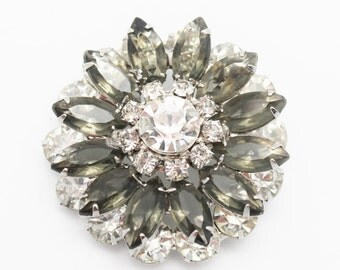 Vintage Black Diamond and Clear Juliana Style Brooch