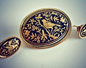 Vintage Brooch and Earring Set - Bird and flower gold tone brooch and pierced earring set - The Secret Garden Collection