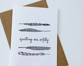 Whimsical Letterpress Card: Quilling Me Softly