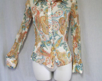 Vintage Silky Blouse, Top, Sheer, Pleated, Paisley, Retro, Small