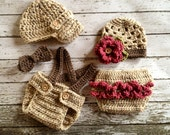 Vintage Twin Photography Prop Set in Oatmeal, Pink Rose and Taupe Available in 3 Sizes- MADE TO ORDER