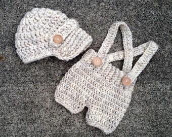 Oliver Newsboy Cap with Crochet Baby Shorts/Pants with Suspenders in Wheat Avaialbe in Newborn to 6 Month Size- MADE TO ORDER