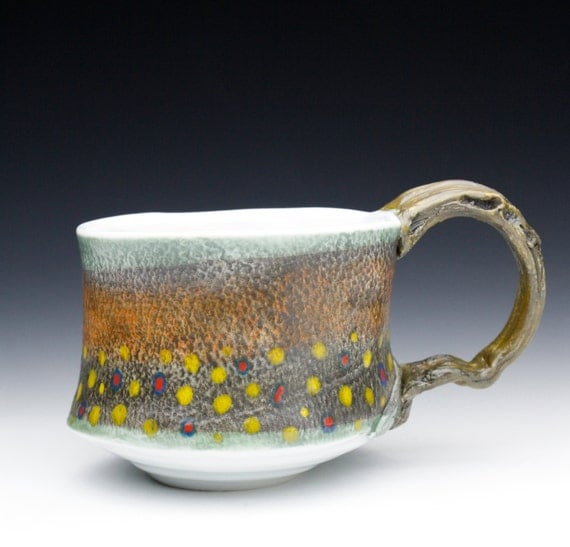 LARGE Brook Trout Fish Mug ( Hand Made Porcelain) Nature as Objects