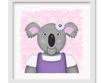 Koala Bear Nursery / Toddler Art, Koala Bear Wall decor, 12 x 12 children's wall art print - Teddy Bear Nursery