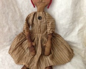 SALE Farmhouse Rag Doll by The Primitive Nook with ticking dress OFG Team FAAP Team
