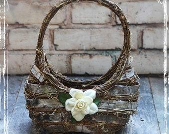 Woodland Wedding Flower Girl Basket - Rustic Fairytale Weddings - Wedding Decor - Vineyard Wedding - Personalized - Birch Grapevine