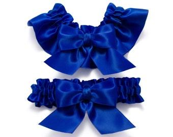 Wedding garters - bridal garters - cobalt blue garters - cobalt blue satin garters- cobalt blue garters - cobalt blue garter set - blue set