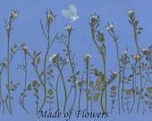 Pressed Flower Print ~Simple Garden~ Hydrangea Butterfly