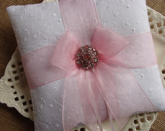 Wedding Ring Bearer Pillow - Soft Pink Bow Pillow on White Cotton Eyelet