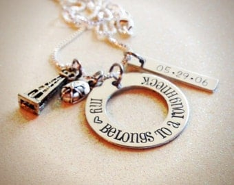 Hand Stamped, Custom, My <3 Heart belongs to a roughneck, oilfield wife and girlfriend necklace