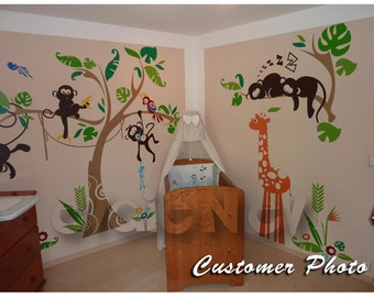 Jungle Wall Decals - Monkey on the Tree Wall Stickers with Giraffe and Parrot - PLJN010L