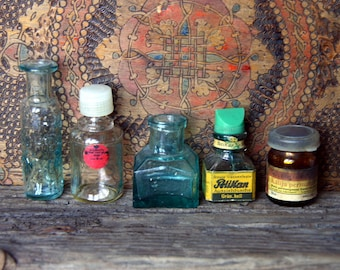 SALE Lot of 5 Antique Vintage Small Glass Apothecary Ink Bottles Instant Collection 1910s - 1980s