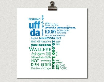 Minnesota Phrases Typography Poster Blue and Green